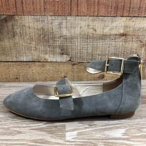 NEW Topshop Katrina gray suede Mary Jane gold 8